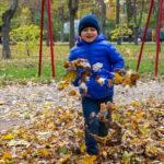 Мальчик в синей куртке подбрасывает желтые листья ногами в парке осенью