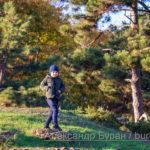 Мальчик на фоне елки в парке